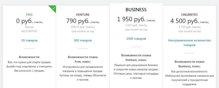 Стоимость и тарифы для открытия интернет-магазина