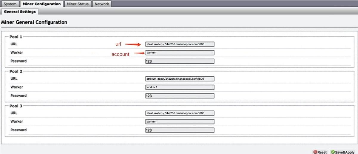 Binance Pool - конфигурация подключения для асиков