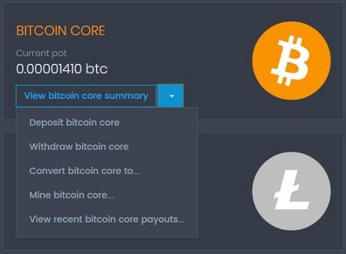 Coinpot меню по bitcoin core