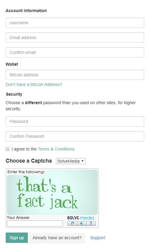 страница регистрации на FaucetHub